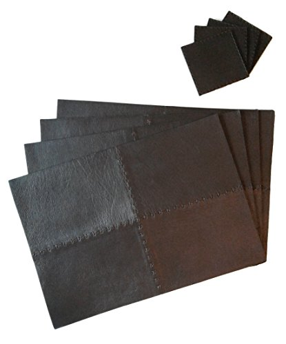 Set of 4 Genuine Leather Placemats Set With Matching Coasters (Chocolate) Luxury High-end Design in Kitchen and Dining Table – Easy to Clean Place Mat 17×12 inches Coaster 4×4 inches