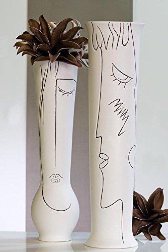 Casablanca Vase Art Ceramic Cream White Height 70 Cm 2 Designs Set