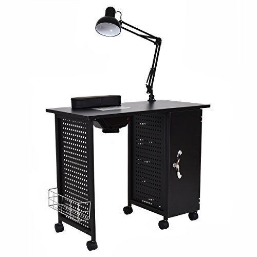 Giantex Manicure Nail Table Station Black Steel Frame Spa Salon Equipment Drawer by Giantex