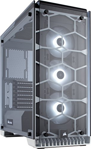 Corsair Crystal Series 570X RGB - Tempered Glass Premium ATX Mid-Tower Case White Cases CC-9011110-WW by Corsair