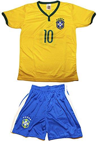 Brazil Neymar Jr. Home Jersey Kids Sizes Yellow #10 Jersey & Shorts Kit (XL (Ages 10-11))