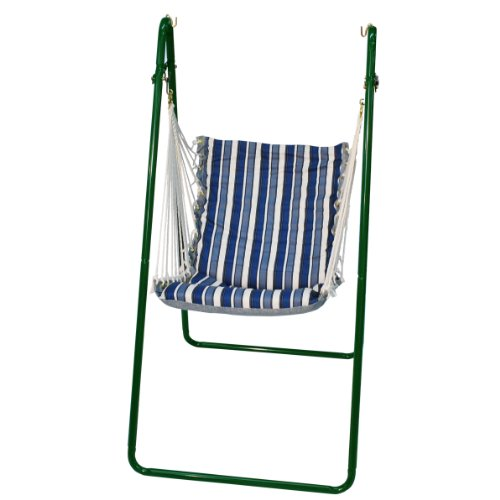 Algoma Chair (Algoma 1525-135142G Swing Chair and Stand Combination, Polar Blue Stripe, Green Stand)