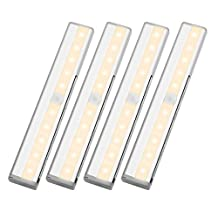 LE Pack of 4 LED Under-Cabinet Lights, 10 LEDs Motion Sensing Cabinet Lighting, Wireless Stick-on Anywhere Stair Lights, Closet Light with Magnetic Strip, Battery Operated, 3000K Warm White