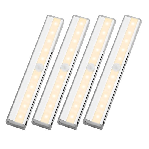 LE LED Motion Sensor Closet Lights, 10 LED Wireless Under Cabinet Lighting, Stick-on Anywhere Night Light Bars with Magnetic Tape for Closet Cabinet Wardrobe Stairs, Battery Operated, 4 Pack by Lighting EVER