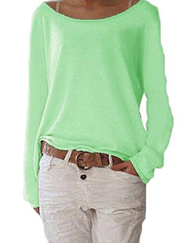 ZIOOER Damen Pulli Langarm T-Shirt Rundhals Ausschnitt Lose Bluse Langarmshirts Hemd Pullover Sweatshirt Oberteil Tops Shirts