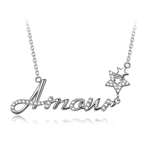 QIANSE Amour Necklace for Women 925 Sterling Silver Pendant Fine Jewelry Mothers Day Birthday Anniversary Valentines Graduation Gifts for Woman Girlfriend Wife Mom Daughter Grandma Teens Her