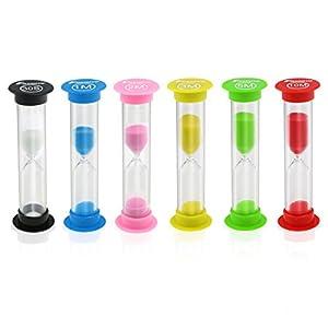 Foxnovo- Reloj de Arena en 6 Colores Reloj Temporizador 30 Segundos/1 Minuto / 2 Minutos / 3 Minutos / 5 Minutos / 10 Minutos (Color al Azar) 14
