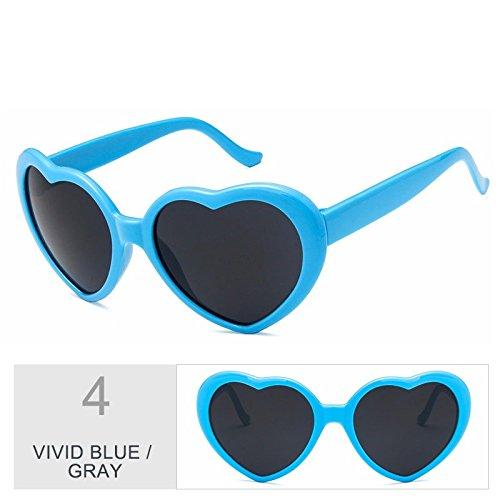 Vivid rosado corazón sol Gray gris mujer mujer Cute Blue TL de Sunglasses de Vintage sol gafas gafas Hvq60wO