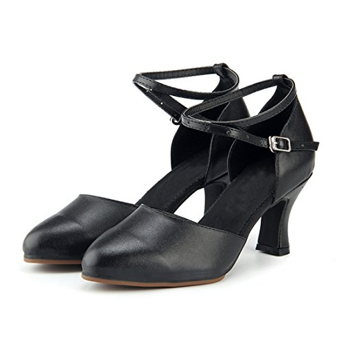 Miyoopark Donna Confortevole Cinturino Alla Caviglia In Pelle Scarpe Da Ballo Latino Scarpe Da Sera Nero-7cm Tacco