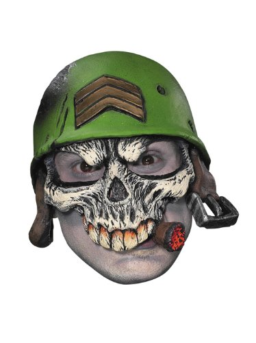 Disguise Men's Sergeant Half-Cap Mask, Green/White/Black/Tan/Red, Adult Adult Vinyl Half Mask