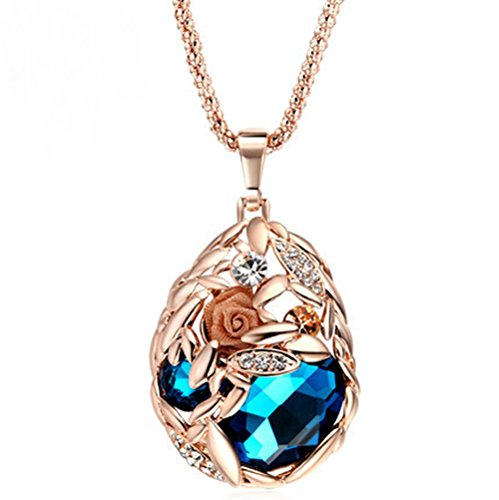 The Starry Night Rose Gold Color Blue Crystal Flower Necklace For Fashion Females -