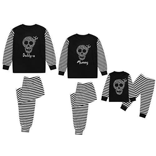 FEDULK 2PCs Family Matching Halloween Costume Bat Skull Pajamas Sleepwear Nightwear Top and Pant Sets(Kid,