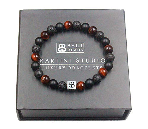 Men's Mixed Stone and Sterling Silver Bracelet, Red Tiger's Eye, Lava Stone, and Black Onyx Bracelet, Bracelet for Man