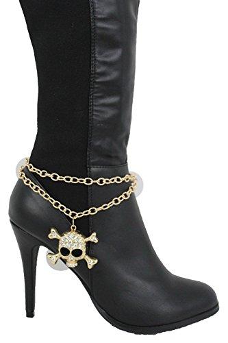 Trendy Fashion Jewelry TFJ Women Western Boot Chains Gold Metal Bracelet Anklet High Heel Skeleton Skull Charm Heart Silver Bling ()