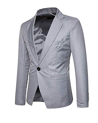 Leisure Casual Fit Blazer Slim Suit Uomo Lanceyy Stile Semplice Giacca 1 Hellgrau Button Business Da Yq4wBnR