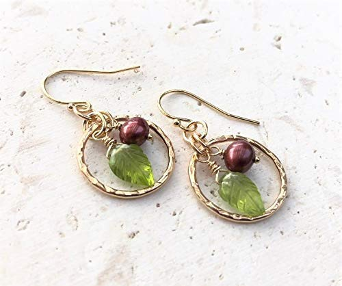 Cranberry Pearl Green Peridot Leaf Gemstone Earrings Fall Winter- Jewelry Gift For Her