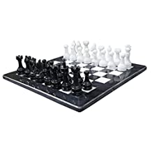Black and White Marble Chess Game 16 inches Handmade Marble Chess Set