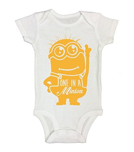 One in a Minion Kids Funny Boys Girls Onesie Bodysuits Funny Threadz Kids 0-3 Months, White (Kids Minion Suit)