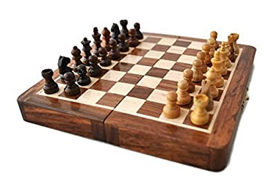 "StarZebra Magnetic 7"" Inch Chess Set Game with Fine Wood Classic Handmade Standard Staunton Themed Ultimate Folding Chess Set - comes with storage for Pieces in the Wooden Board"