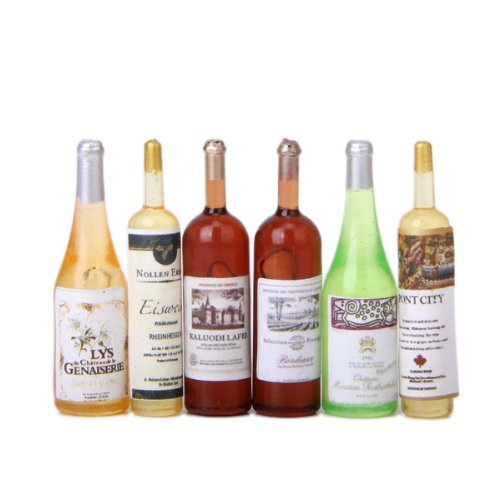 6Pcs Colorful Wine Bottles Dollhouse Miniature 1:12 Scale Generic