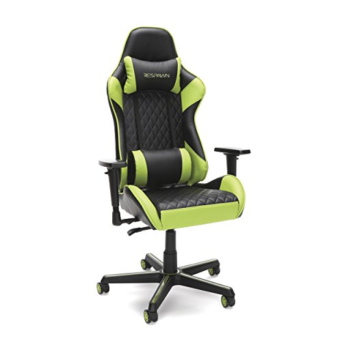 RESPAWN-100 Racing Style Gaming Chair - Reclining Ergonomic Leather Chair, Office or Gaming Chair (RSP-100-GRN) OFM Education