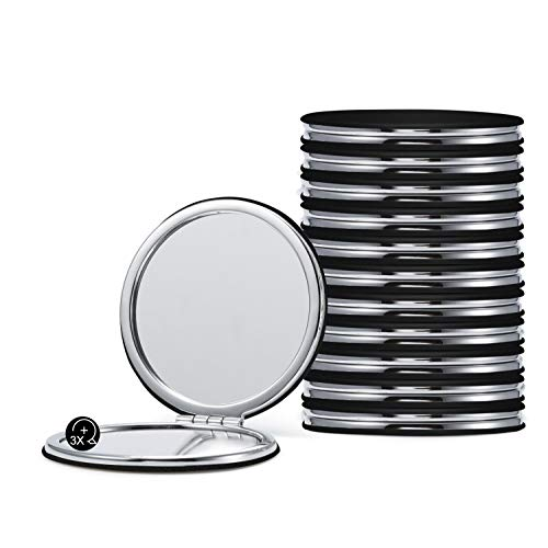 Compact Mirrors Bulk, Set of 12 Round Double-Sided 1X/3X Magnification PU Leather