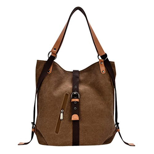 (Todaies Women's Canvas Totes Vintage Female Hobos Shoulder Bags Backpack (36cm(L) 10cm(W) 38cm(H), Coffee) )