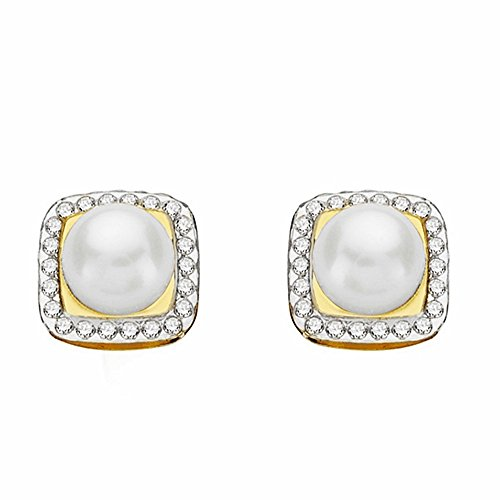 Boucled'oreille 18k 9mm bicolor d'or. Perle pression proche [AA2134]