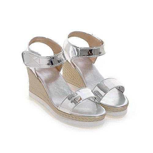 Odomolor Mujeres Puntera Abierta Velcro Sólido Plataforma Sandalia Plateado