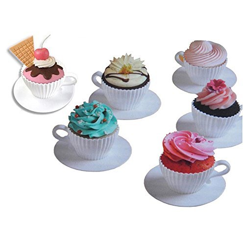 Cupcake Molds,Grocery House 4 Sets ReusableSilicone Cupcake Cups Muffin Molds for Baking Cake, Saucers Teacup Mold, DIY Decor