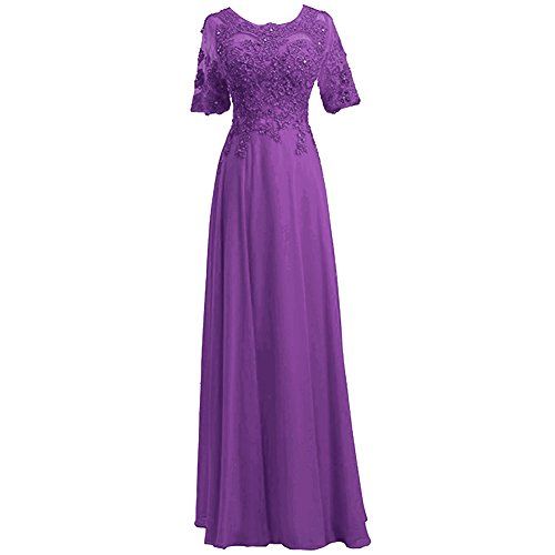 Abendkleid Perlen HWAN Brautjungfer Lila Chiffon Kleid rmeln eine kurzen Linie formale Frauen Xq6Xwv