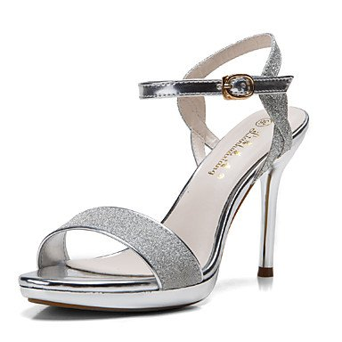 zapatos Sequin UK3 con sandalias mujeres punta hebilla 5 US5 Silver Gold plataforma abierta de Stiletto con EU36 talón 5 Las colores CN35 Glitter 0YxpPnRPW