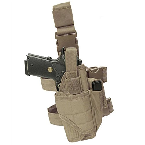 Carlebben Elite Molle Drop Leg Holster Adjustable Right Handed Tactical Thigh Pistol Gun Holster (Brown)