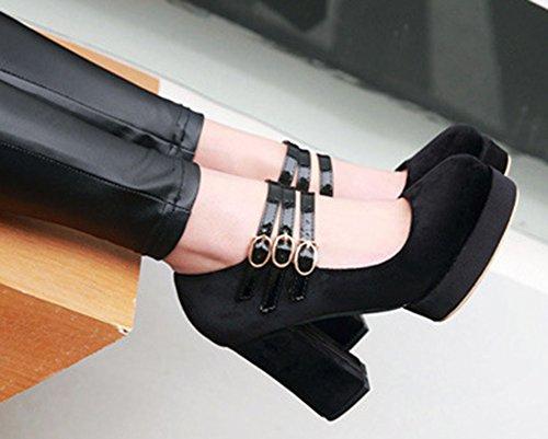 Escarpins Aisun Talon Boucle Noir Bloc Femme Haut Classique TA8SY