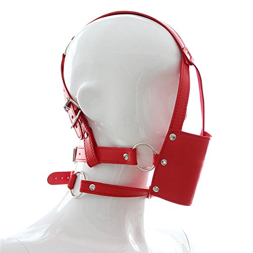 Silicone Mouth Ball Bondage Restraints PU Leather Open Mouth Gag Head Harness Fetish Mask with Oral Fixation Adult Game Red