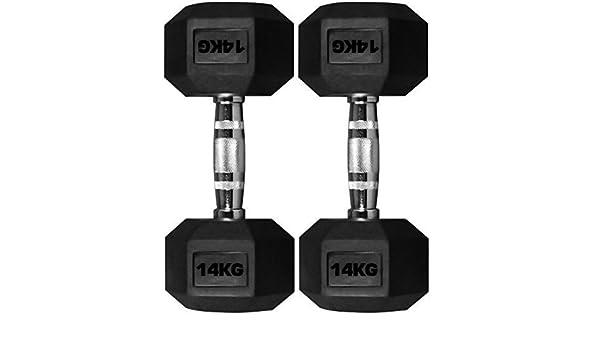TNP Accessories goma hexagonal Pesa 2x 14KG=28kg Hexa Peso Sólido Cromo Pesas JUEGO: Amazon.es: Deportes y aire libre