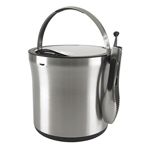 steel ice bucket tongs set
