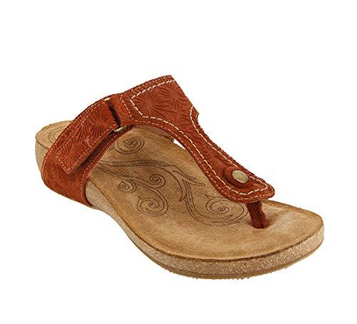 Womens Brown Rust Heels Sandals - Taos Footwear Women's Lucy Rust Embossed Suede Sandal 9-9.5 M US