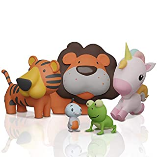 SplashEZ MoldFree Bath Toys for Babies and Toddlers 6M+ – 5 Toy Set with Tiger, Lion, Quail, Frog, Unicorn Animal Buddies – BPA-Free, Dishwasher-Safe Beach & Pool Toys for Playing, Learning, Gifting