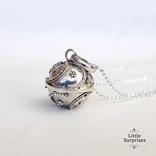 Silver Mexican Necklace - 12mm Small Chime Sound Harmony Ball Sterling Silver Pendant 16