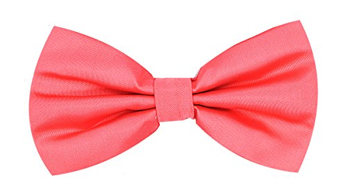 Oliver George Solid Bow Tie (Coral) #1010-A - Exclusive Silk Bow Tie