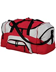 Port & Company Color Block Sport Duffel Bag, Red/Grey, One Size