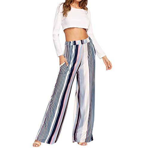 Cotton Plaid Trousers - 2018 Palazzo Pants,Women Casual Stripe Print Wide Leg Trousers Leggings by-NEWONSUN