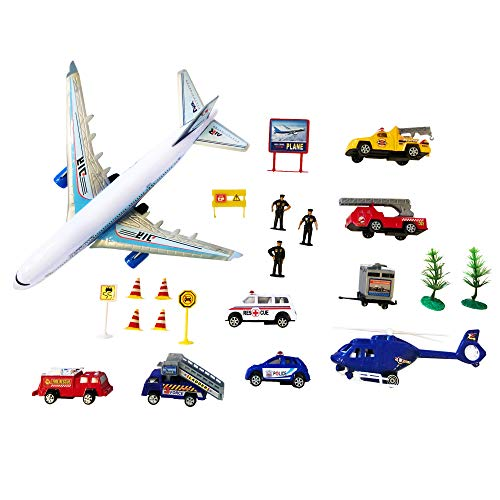 LilPals'' Airport Play Set - Multi Piece Set Features Aircraft, Support Vehicles, Personnel & Signs - Amazing Gift for Children 3 and up.