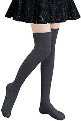 Women Cable Knit Long Tube Socks Over the Knee Leg Warmers Thigh-High Leggings