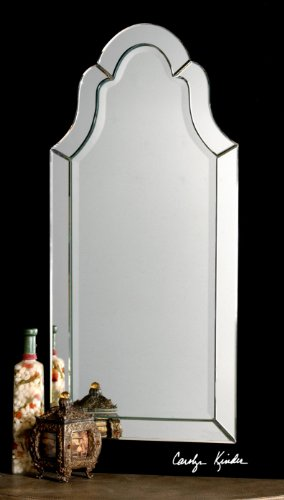 Gorgeous Large Frameless Arch Venetian Style Beveled Wall Mirror