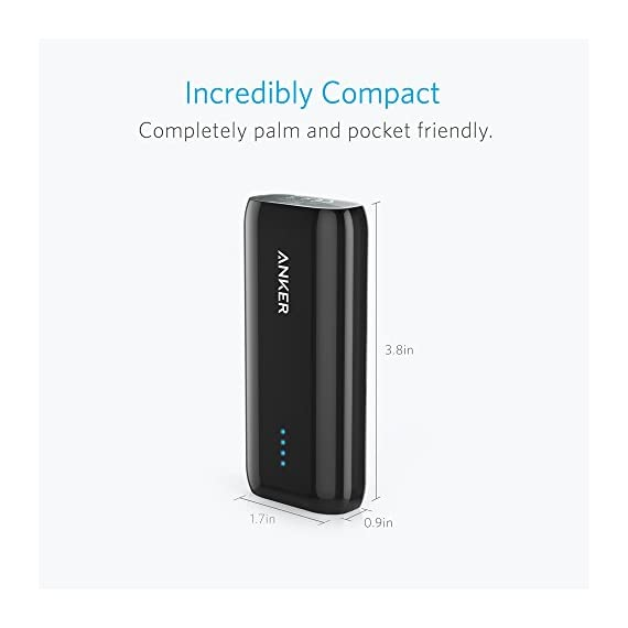 Anker Astro E1 5200mAh Candy bar-Sized Ultra Compact Portable Charger (External Battery Power Bank) with High-Speed Charging PowerIQ Technology (White) 3 The Anker Advantage: Join the 20 million+ powered by our leading technology. Exclusive PowerIQ Technology: Detects your device to deliver its fastest possible charge speed up to 2 amps (four times faster than a computer USB port). Does not support Qualcomm Quick Charge High Capacity: Add almost two full charges to an iPhone 7 or 6s or at least one full charge to a 7 Plus, Galaxy S7, Nexus 5 or other smartphone. Or almost a 70% charge to an iPad mini 3.