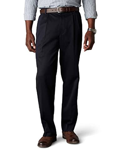 Dockers Men's Signature Khaki Big & Tall Pleated Pant,Navy,42x36