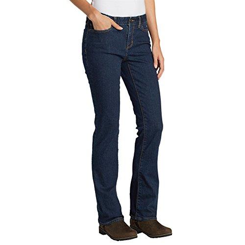 Eddie Bauer Women's StayShape Boot Cut Jeans - Slightly Curvy, Deep Rinse 14