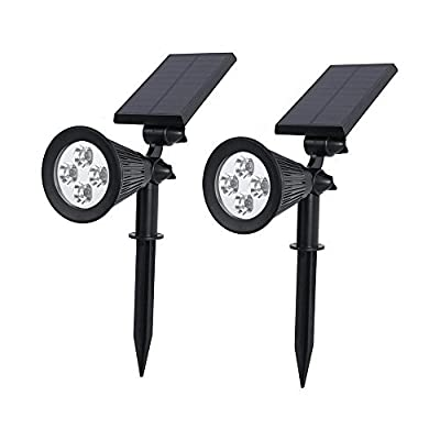Solar Spotlight, Auxmart Outdoor Lights 270 degrees Adjustable Wall Light Waterproof Landscape Security Lighting with High Light and Dim Light 2 Modes (Pack of 2)